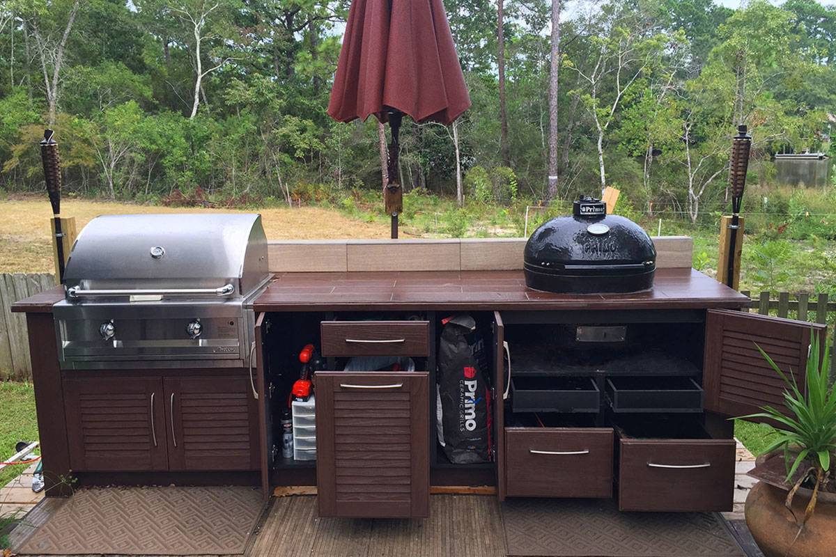 NatureKast realistic faux wood pvc outdoor summer kitchen cabinets in  Melbourne FL by Hammond Kitchens &