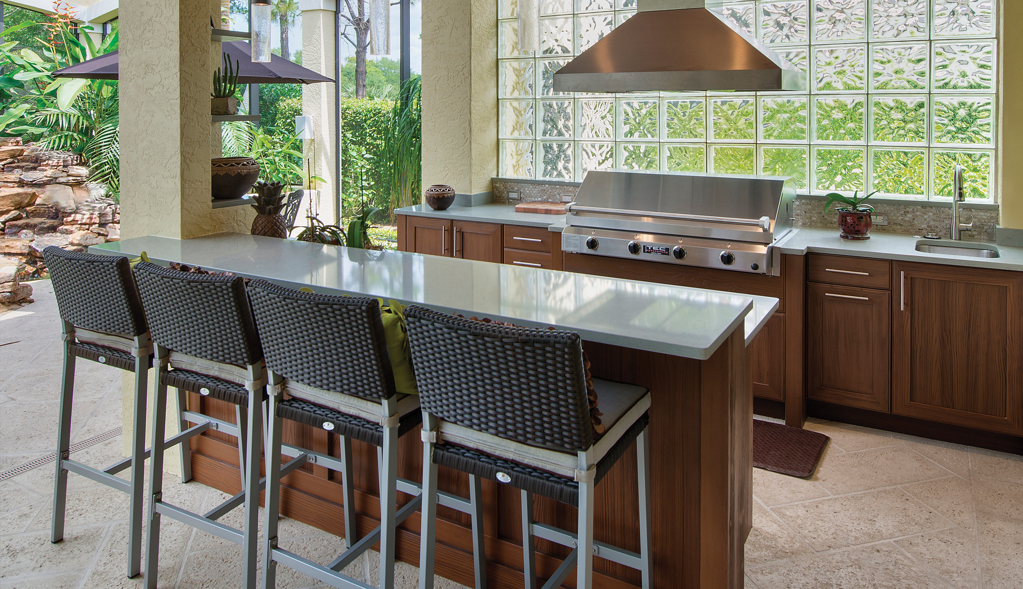 Weatherproof Outdoor Summer Kitchen Cabinets in Melbourne FL by Hammond Kitchens & Bath